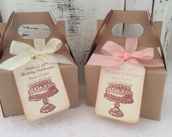 Birthday Favor Boxes Happy Birthday Favor Birthday Boxes, Tags, Ribbon 30th 40th 50th 75th Set of 10