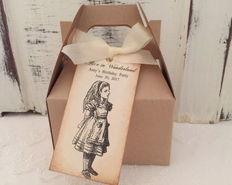Alice in Wonderland Boxes Alice Birthday Favors Boxes Tags, Ribbon Set of 10