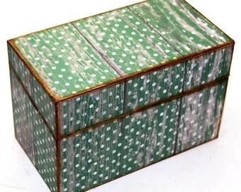 Wood Recipe Box Faux Barn Wood Green Polka Dots Fits 4x6 Recipe Cards