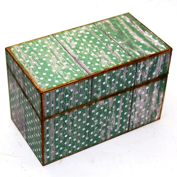 Wood Recipe Box Faux Barn Wood Green Polka Dots Fits 4x6 Recipe Cards