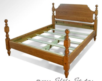 Old Fashioned 1830 Cherry Cannonball Bed | Early American Furniture