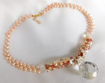 Rock Crystal Statement Necklace - Pearl Necklace - Pink Pearls