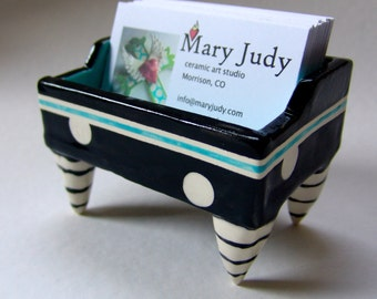 Business Card Holder pottery dish :) Turquoise blue with black & white polka dots, striped legs