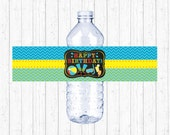 Cute Pool Party Water Bottle Labels / Water Bottle Wraps / Boys Pool Party / Chalkboard Trend / Printable INSTANT DOWNLOAD A333
