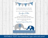 Elephant Baby Shower Invitation / Navy Blue & Grey Elephant / Elephant Baby Shower / Baby Boy Shower / INSTANT DOWNLOAD Editable PDF