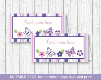 Butterfly Buffet Cards / Food Labels / Place Cards / Buttefly Baby Shower / Pink & Purple Butterfly / INSTANT DOWNLOAD Editable PDF A248