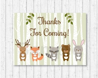 Woodland Forest Animal Party Favor Tags / Thank You Tags / Woodland Baby Shower / Gender Neutral / INSTANT DOWNLOAD