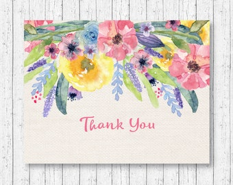 Floral Thank You Card / Floral Baby Shower / Watercolor Flowers / Rustic Floral / Folded Card Template / PRINTABLE Instant Download