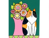Calico Cat Art Print/ Longhair Kitty with Garden Flowers by Susan Faye