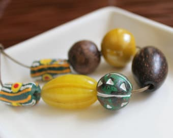 Yellow Green African Beads - Glass, Ceramic and Wood Collection
