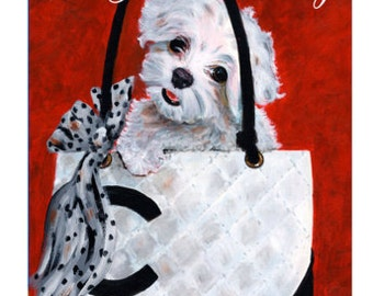 Maltese dog Chanel Handbag Birthday Card By Philo