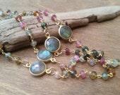 Tourmaline stones with labradorite connectors set in gold bezel long necklace