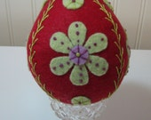 Hand Stitched Embroidery Wool Easter Eggs - Easter Decor - Home Decor - Designed after Ukranian Pysanky Eggs - Folk Art - Fiber Art -