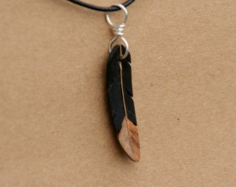 Handcarved Ebony, Ambrosia Maple and Maple Wood  feather  Pendant  J160227