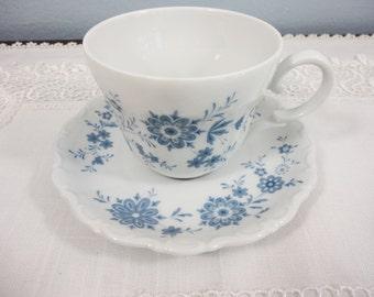 Seltmann Weiden Blue Floral Teacup and Saucer - Bavaria Germany