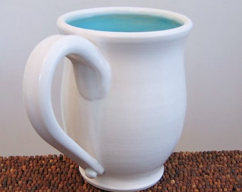 Large Coffee Mug in Turquoise Blue 16 oz. Stoneware Ceramic Pottery Mug