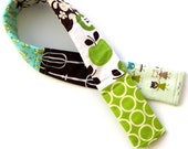 Apple Green and Brown Patchwork Camera Strap Cover