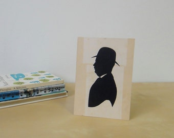 Vintage Unframed Hand Cut Silhouette - Man with Hat