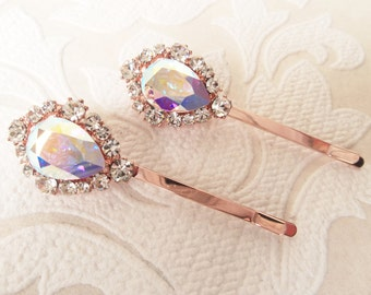 Rose Gold Plated Hair Pins with AB Rainbow Swarovski Crystal on Strong Bobby Pin for Vintage Bridal Hair Style or Victorian Wedd