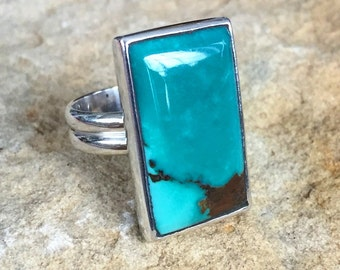 Simple art deco inspired sterling ring with rectangular turquoise cabochon