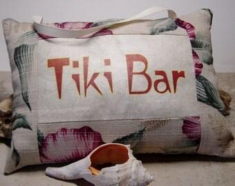 Tropical Door Knob Sign,Tiki Bar Sign,Tropical Fabric Pillow Sign,Bark Cloth Fabric Sign,Tiki Decor,Tiki Bar Accessory