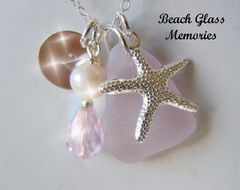 Sea Glass Necklace Personalized Necklace Lavender Beach Glass Necklace Seaglass Jewelry Charm Necklace Starfish