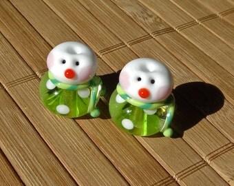 Little Snowman Set Dotted Pair in Green--Handmade LAMPWORK Beads