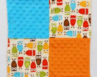 Owl Security Blanket - Lovey - Baby Blanket - Small Blanket - Baby Shower Gift - Baby Boy - Orange - Blue - Flannel Blanket - Fleece Blanket