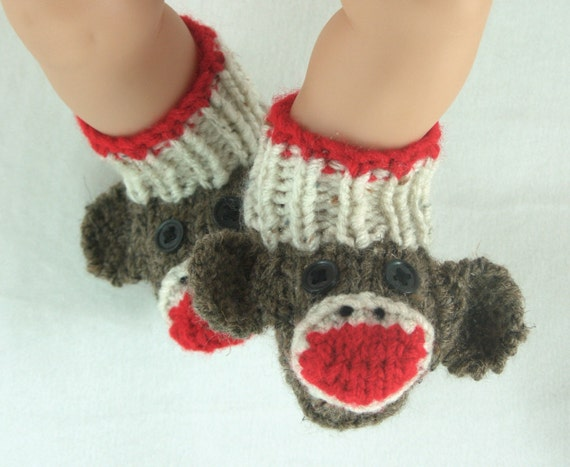 Knitting Pattern For Sock Monkey Booties : Classic Sock Monkey Booties Knitting Pattern in sizes 0 3
