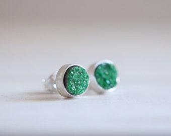 Uvarovite earrings. Sterling silver earrings with Uvarovite Garnet. Uvarovite studs, druzy Uvarovite, green druzy studs, druzy earrings.