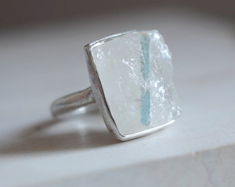 Quartz and Aquamarine. Sterling silver ring with drusy Quartz and Aquamarine crystal. Aquamarine crystal, rough Quartz, Aqua ring, raw Aqua.