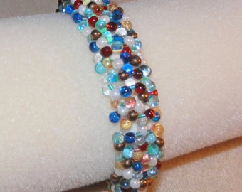 Handmade Multi Color Beaded Fringe Caterpillar Bracelet in Brown Blue Pearl