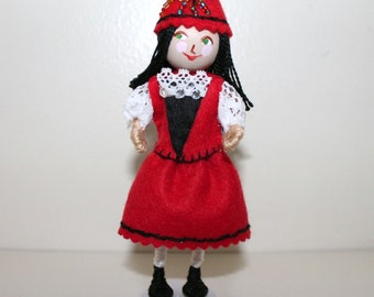 Handmade Felt Art Doll Polish Girl in Traditional Clothes
