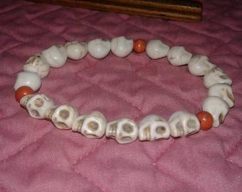 Skull Howlite Beads with Wood Beads Bracelet