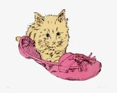 Kitten in Shoe Hand Pulled Limited Edition Cat Screen Print by Fiona Hamilton