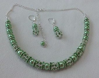 Mint Green Pearls with Silver and Rhinestones Necklace and Complimentary Earrings