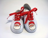 Girls Santa Claus Christmas Shoes, Hand Painted Holiday Kids Sneakers for Baby and Toddler