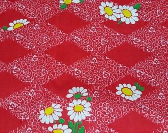 vintage 70s mod daisy cotton print, 1 yard