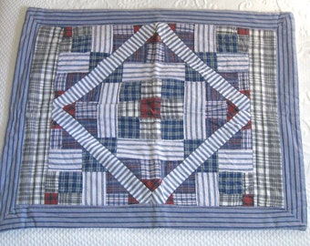 Quilted Pillowcase .  Quilted Standard Pillowcase . country pillowcase . plaid pillowcase . quilted plaid pillowcase