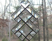 Stained Glass Suncatcher, Beveled Clear Glass Southwest Abstract