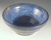 Pottery Serving Bowl - Blue with White Accents