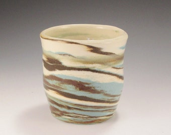 Pottery Small Cup -  Southwestern  Colors of Turquoise, Dark Brown, and White - Agateware Swirl Technique