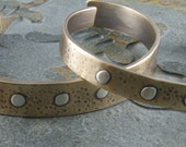 Bronze Cuff Bracelet with Sterling Silver Rivets- Hammered, Antiqued