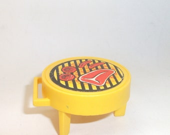 Vintage Fisher Price Yellow Barbecue for Little People Toy