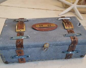 Keepsake Trinket Jewelry Box Denim and Metal