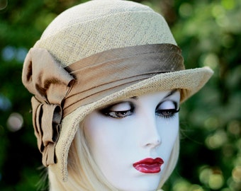 20s Cloche Hat Casual Great Gatsy Brown Tweed Fabric