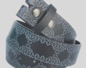 "Charcoal Gray Belt Strap Embossed Western Tooled Style Design- Snap On -Men Women- 1.5"" - SM 30 31 32 2XL 43 44 45 - 20+ Other Styles Avail"