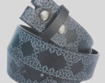 """Charcoal Gray Belt Strap Embossed Western Tooled Style Design- Snap On -Men Women- 1.5"""" - SM 30 31 32 2XL 43 44 45 - 20+ Other Styles Avail"""