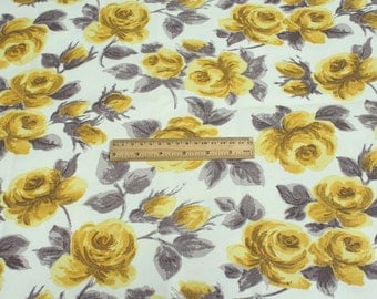 4261 - Cath Kidston Painted Rose (Offwhite) Cotton Canvas Fabric - 57 Inch (Width) x 1/2 Yard (Length)