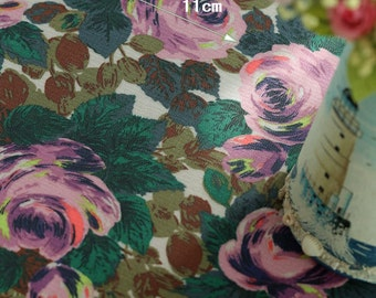 4133 - Cath Kidston Oxford Rose Embossed (Offwhite) Oilcloth Waterproof Fabric - 28 Inch (Width) x 17 Inch (Length)
